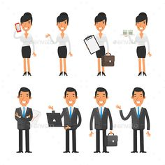 Business Woman and Businessman - People Characters