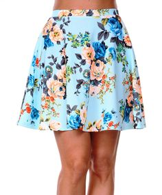 This White Mark Blue & Coral Floral A-Line Skirt by White Mark is perfect! #zulilyfinds