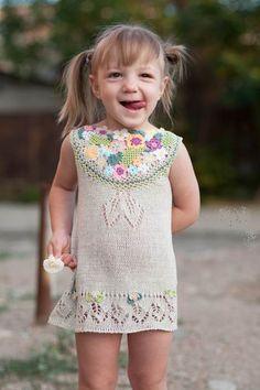 Items similar to Summer knitted linen dress for little girls fun on Etsy Summer Knitting, Knitting For Kids, Baby Knitting, Little Girl Dresses, Girls Dresses, Pretty Little Girls, Cute Maternity Outfits, Baby Dress, Dress Girl