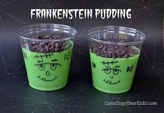 Halloween party idea...vanilla pudding tinted green and chocolate chips with a Frankenstein face drawn on the cup #halloween #recipes #food #ideas