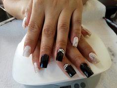 #acrylics #longnails #gems #glitter