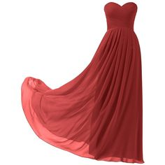 Remedios A-Line Chiffon Bridesmaid Dress Strapless Long Prom Evening... (130 BRL) ❤ liked on Polyvore featuring dresses, gowns, long red dress, long red gown, long bridesmaid dresses, long evening dresses and red gown