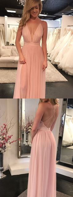 simply pink long prom dress, 2018 prom dress, long prom dress with side slit