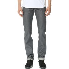Naked & Famous Weird Guy Grey Selvedge Jeans ($71) ❤ liked on Polyvore featuring men's fashion, men's clothing, men's jeans, grey selvedge, mens button fly jeans, mens slim tapered jeans, mens slim fit jeans, mens gray jeans and mens slim jeans