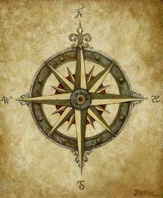 Beautiful vintage compass | Tattoo | Pinterest