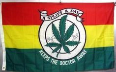 """Large Medical Marijuana Flag, Spliff A Day by RastaFlags. $5.25. """"A SPLIFF A DAY KEEPS THE DOCTOR AWAY""""  DECORATE YOUR WALL LIKE A POSTER OR HANG OVER YOUR WINDOW AS A CURTAIN. GREAT FOR A FESTIVAL OR YOUR NEXT PARTY AND MAKES A GREAT GIFT.  Plus I'll throw in a bag of killer Jamaican grown buds!! Just kidding about that last one. Too bad. But who knows, maybe one day. The revolution's coming! Jah Love. Peace!  Possibly the Largest Selection in ..."""