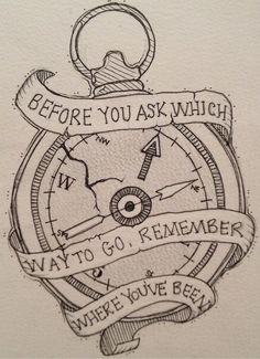 Clock compass tattoo