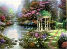 Thomas Kinkade - love the gazebo and the garden