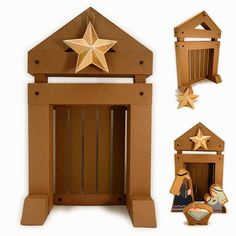 Needles 'n' Knowledge: 3d Nativity Boxes Stable Backdrop Assembly