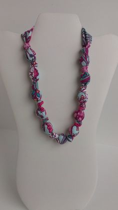 Fabric Wooden Beaded Statement/Nursing Necklace by RubyRebels, $11.99