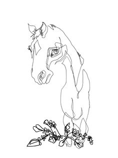 Blind Contour Horse II - Original Ink Drawing, via Etsy. [this is such a fun project to do with friends; draw each other. It's the UN-realism that is so striking, yet the essence is there...]