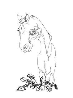 Blind Contour Horse II - Original Ink Drawing, via Etsy.