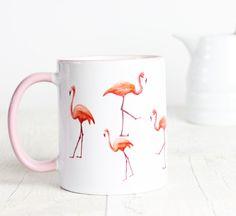 Rosa Flamingo Becher Griff mit Flamingos verstreut von missharry