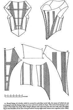 Fonte: livro Corsets and Crinolines de Norah Waugh, pg. 17th Century Clothing, 17th Century Fashion, 18th Century Dress, 18th Century Costume, Diy Clothing, Clothing Patterns, Sewing Patterns, Sewing Ideas, Historical Costume