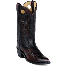 DB585 - Black Cherry western boot with ornate leather tooling
