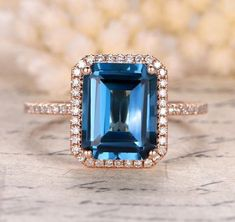 Emerald Cut London Blue Topaz Engagement Ring Pave Diamond Halo 14K Rose Gold 8x10mm