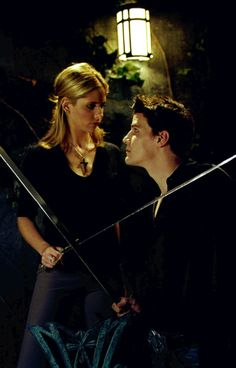 Buffy and Angel before the big sword fight