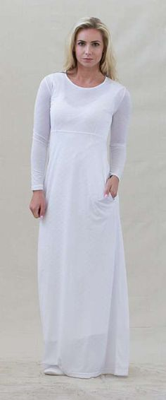 This Plain Jane dress at DressedInWhite.com is a our most popular dress. It has the same back keyhole opening with back ties and is also made from Polyester knit fabric. Hidden side pockets. The fabric is machine washable and wrinkle resistant. It is especially good for tall women, and excellent as an LDS temple dress or for use by Eastern Star members.
