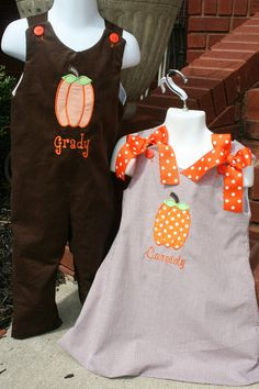 Brother Sister Pumpkin Outfits Monogram is by PalmettoPrincessShop,