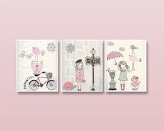 Nursery art, Baby room decor, Baby girl nursery wall art, Paris Metro. set of 3 11x14 shabby chic, vintage style nursery, light pink gray
