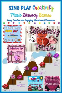 Sing, Play, Move in February with a President's Day Rap, Orff Valentine's Day Songs, Kodaly lessons done creatively. Students love the graphics and catchy tunes. https://www.teacherspayteachers.com/Store/Sing-play-creatively/Category/FEBRUARY-185935