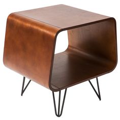 This retro end table brings you storage and a table in one simple piece of furniture, and has a unique look that's sure to draw attention. Its dark walnut finish helps it blend in with existing furniture, and the finish on its legs resists marring.