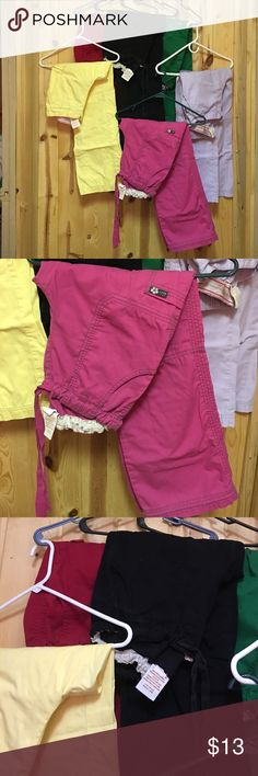 Koi Lindsey Pant & Marissa Pant Small Reg & Petite Good Used Condition Koi Lindsey  Cargo Pant and Marissa Pant Small Petite Black Lindsey Pant is the only one that is Regular Length Pink green yellow light Lilac Black red Koi Pants