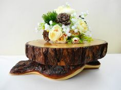 """10"""" Wood Cake Stand, Cupcake Stand, Flower Stand, Wooden Pedestal, Wedding Decor, Seasonal, Nature Decor, Rustic Cake Stand, Tree Cake Stand"""