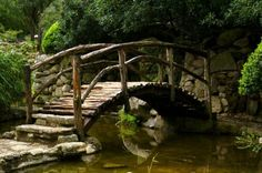 country style rustic arched bridge