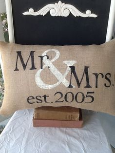 Mr and mrs pillow, personalized pillow, valentines gift, wedding, gift via Etsy