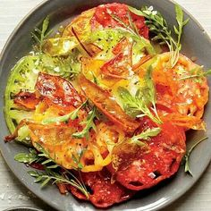 Beefsteak Tomato Salad with Fried Tomato Skins!!