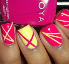 Neon Yellow and Pink Striped Nails