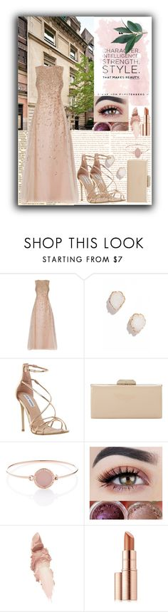 """evening party"" by yosimaharani on Polyvore featuring Oscar de la Renta, Kendra Scott, Steve Madden, Dune, Michael Kors, Maybelline, Estée Lauder and rosegold"