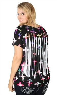 Plus Size Tunic with Galaxy Cross Screen and Slash Back