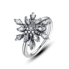 925 Sterling Silver Diamond Engagement Rings For Women Snowflake Diamond Ring #JewelsForum #EngagementRing #Anniversary