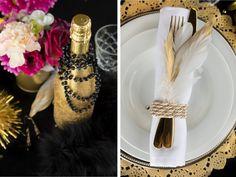 Goldenes Besteck für die gelungene Dekoration der Gatsby Hochzeit im Stil der 20er-Jahre