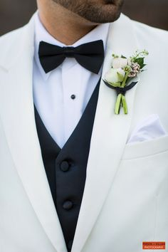 Boston Event Photography, Boston Wedding Photography, Wedding Flowers, Boutonniere, Groom's Boutonniere, White and Green Wedding Inspiration, White Tuxedo, Wedding Boutonniere.