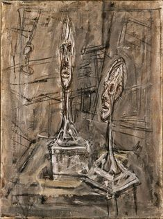 Alberto Giacometti (Swiss, Still Life with Two Plaster Heads, 1950 Oil on canvas 16 x 12 in. x cm) Gift of Mrs. Harry Lynde Bradley Photo credit Larry Sanders © Succession Giacometti / Artists Rights Society (ARS), New York / ADAGP, Paris Alberto Giacometti, Giacometti Paintings, Statues, Gagosian Gallery, Milwaukee Art Museum, Haitian Art, Tate Gallery, Surrealism Painting, Portraits