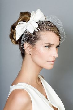 Rachel Trevor Morgan Millinery - Bridal R1510 Triple bow headdress with beading