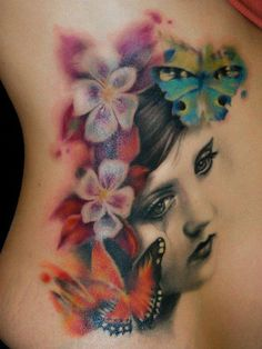 #TATTOOS and BODY ART. Ink by Giuliano Cascella. Want A Portait Of My Daddy :) Love the Design. Reminds Me Of Water Colors. Flowers & Butterflies Are My Favorite, also.