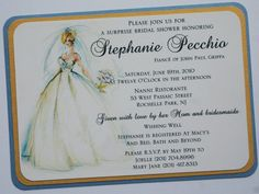 Bridal Shower Invitation with color rendering by atouchofsunshine1, $3.00