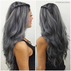 awesome Weekly hair collection: 26 TOP hairstyles that you will love! Dark Grey Hair Dye, Grey Ombre Hair, Silver Grey Hair, Hair Color Dark, Grey Hair Colors, Long Gray Hair, Hair Colour, Pelo Color Gris, Pelo Color Plata