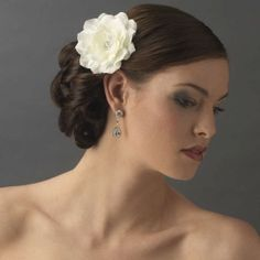 White Jeweled Wedding Hair Flower Clip