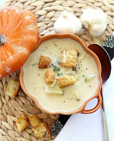 Roasted Garlic Soup is easy and delicious. Serve with garnish options of russet potato chunks, toasted croutons, extra sauteed garlic and Parmesan Crisps.
