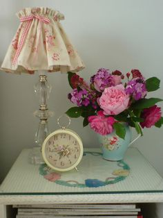 cute bedside table vignette: by prettyshabby on flickr