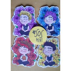 Mini 5SOS Flower Stickers ($5) ❤ liked on Polyvore featuring home, home decor, office accessories, 5sos, mini stickers and cartoon stickers