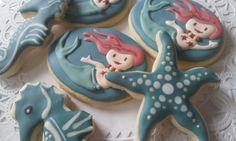 Decorated mermaid sugar cookies for party favor   Cookmunk Cookies for any occasions CookmunkCookies.etsy.com