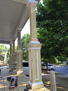 Start of porch rebuild. Columns started as and were built up using pressure treated deck board and pvc trim. Front Porch Plants, Front Porch Columns, House Columns, House Front Porch, Front Porch Design, Porch Pillars, Craftsman Columns, Veranda Design, Porch Table