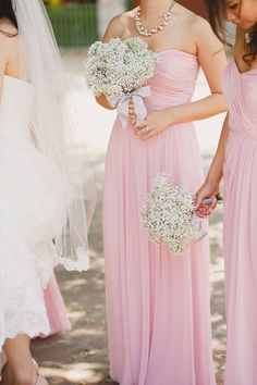 blush pink bridesmaid dresses and baby's breath bridesmaid bouquet