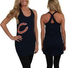 Chicago Bears Women's Burnout Nightshirt - Navy Blue